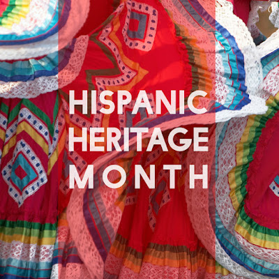 Graphic of colorful garb with the words Hispanic Heritage Month
