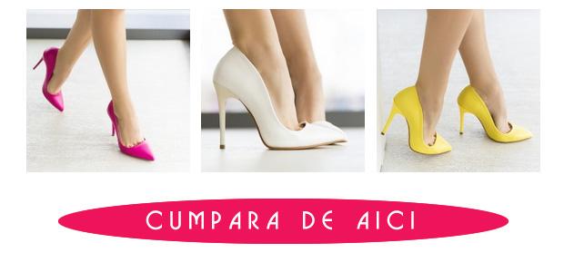 Pantofi eleganti Stiletto ieftini - galbeni, fuchisa si albi