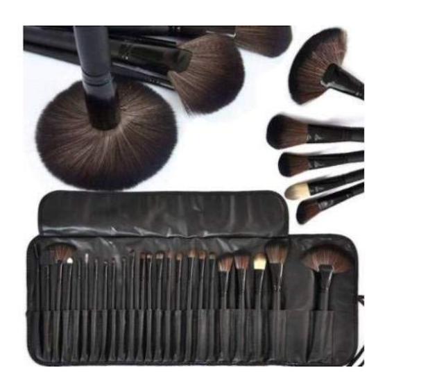 MACPLUS Premium Quality Makeup Brush Set, 24 Pieces Set with Black Leather Case