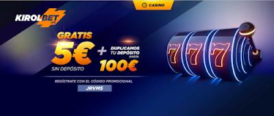 Kirolbet ofrece 5€ con codigo JRVM5
