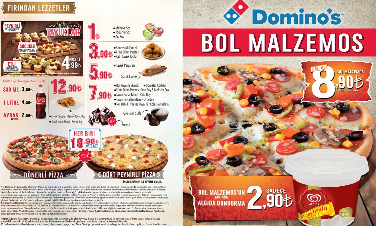 dominos pizza menü fiyatlar
