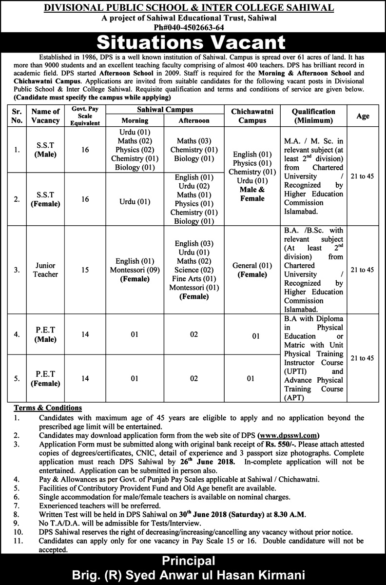 New Jobs for SST, PET, Junior Clerk in Sahiwal Divisional Public School and Inter College Sahiwal www.dpsswl.com