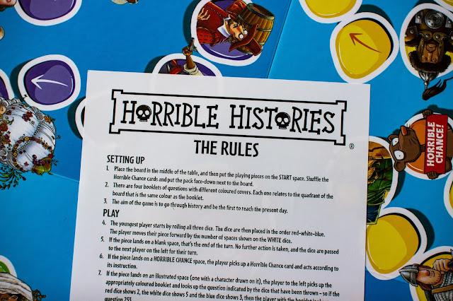 Close up of the Horrible History Board Game rules
