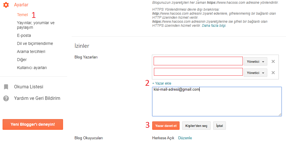 blogger yazar ekleme