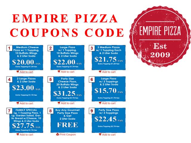 Empire Pizza Coupos code printable