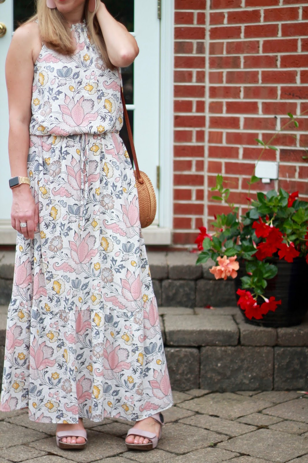 white floral LOFT maxi dress, pink ABEO sandals, circle straw bag