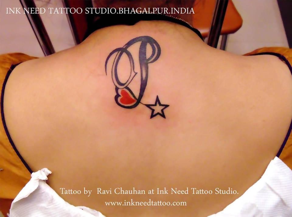 7a836ceb8e06a INK NEED TATTOO STUDIO, BHAGALPUR: star with letter tattoo