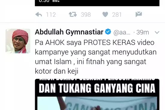 twweter AAgym protes Ahok