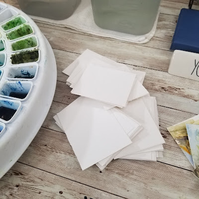 Watercolor paper trimmed for warm ups.  © 2021 Christy Sheeler Artist