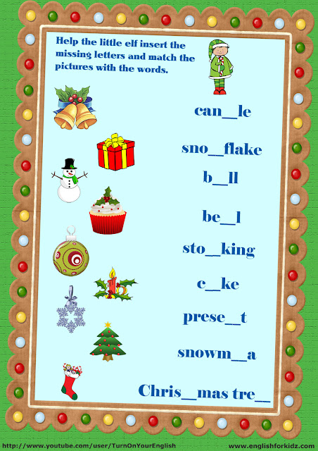 Christmas vocabulary esl worksheet