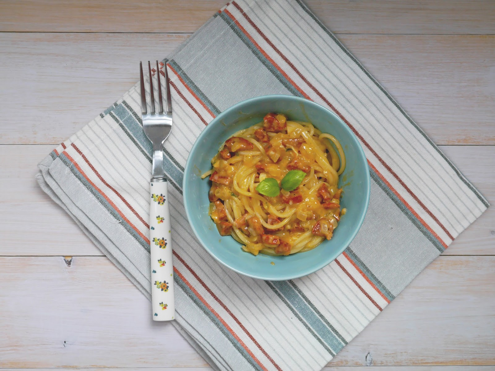 Brie and chorizo pasta recipe