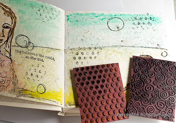 Layers of ink - Pastel Journal Page Tutorial by Anna-Karin Evaldsson. Stamp texture.