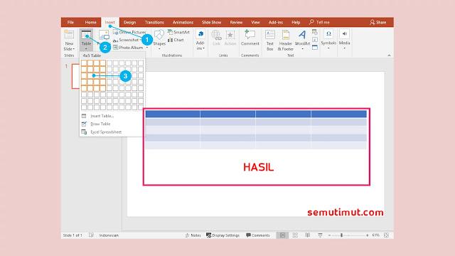 cara membuat tabel di powerpoint 2016
