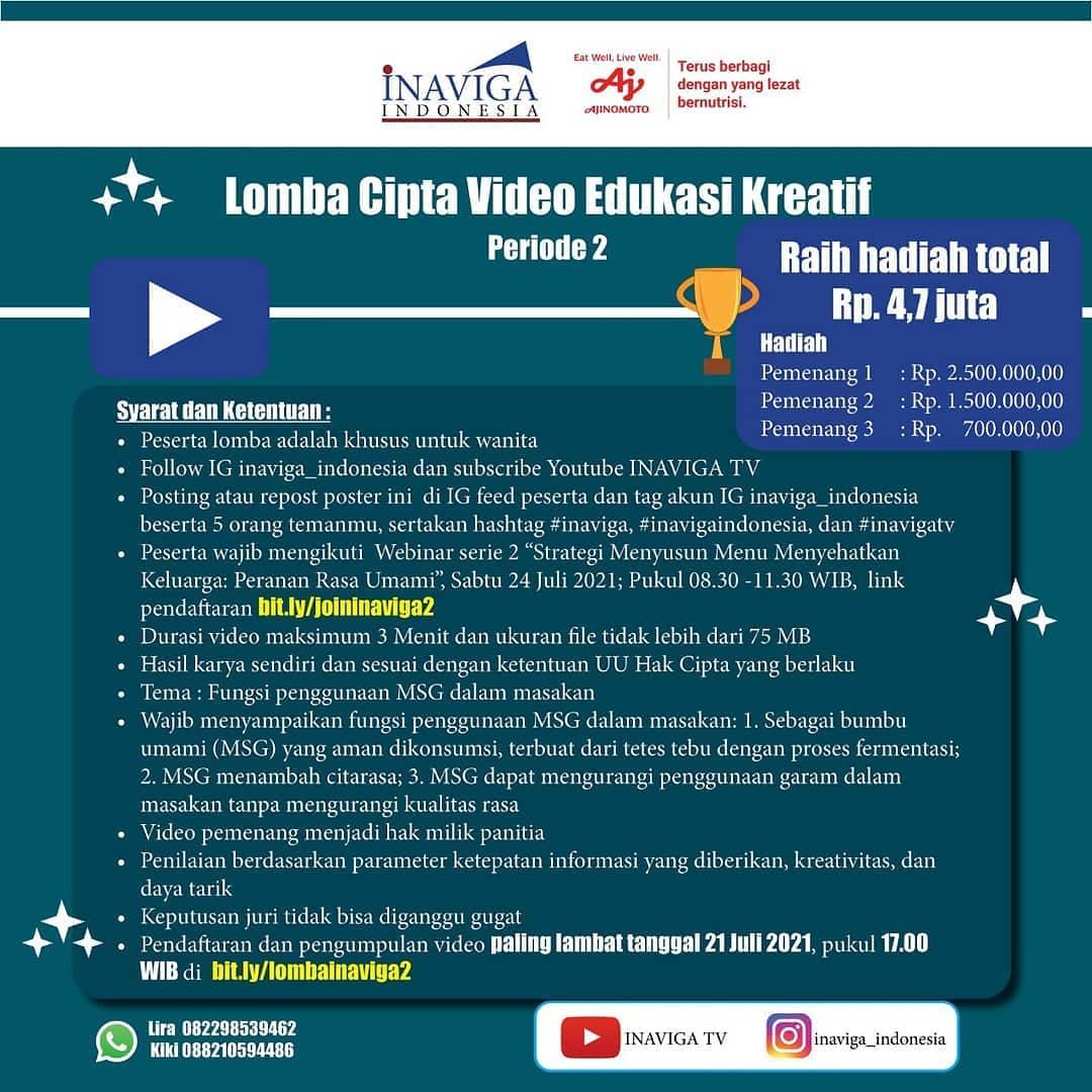 Lomba Membuat Video Edukasi Kreatif Berhadiah Jutaan Rupiah oleh Inaviga Indonesia