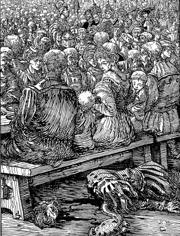 a Joseph Sattler illustration of a busy dining hall ignoring a dead man on the floor