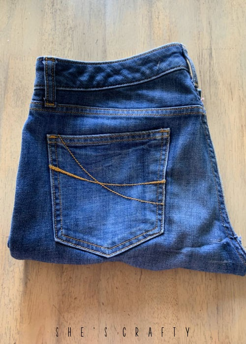 How to make the Perfect Long Shorts - start with a pair of jeans.