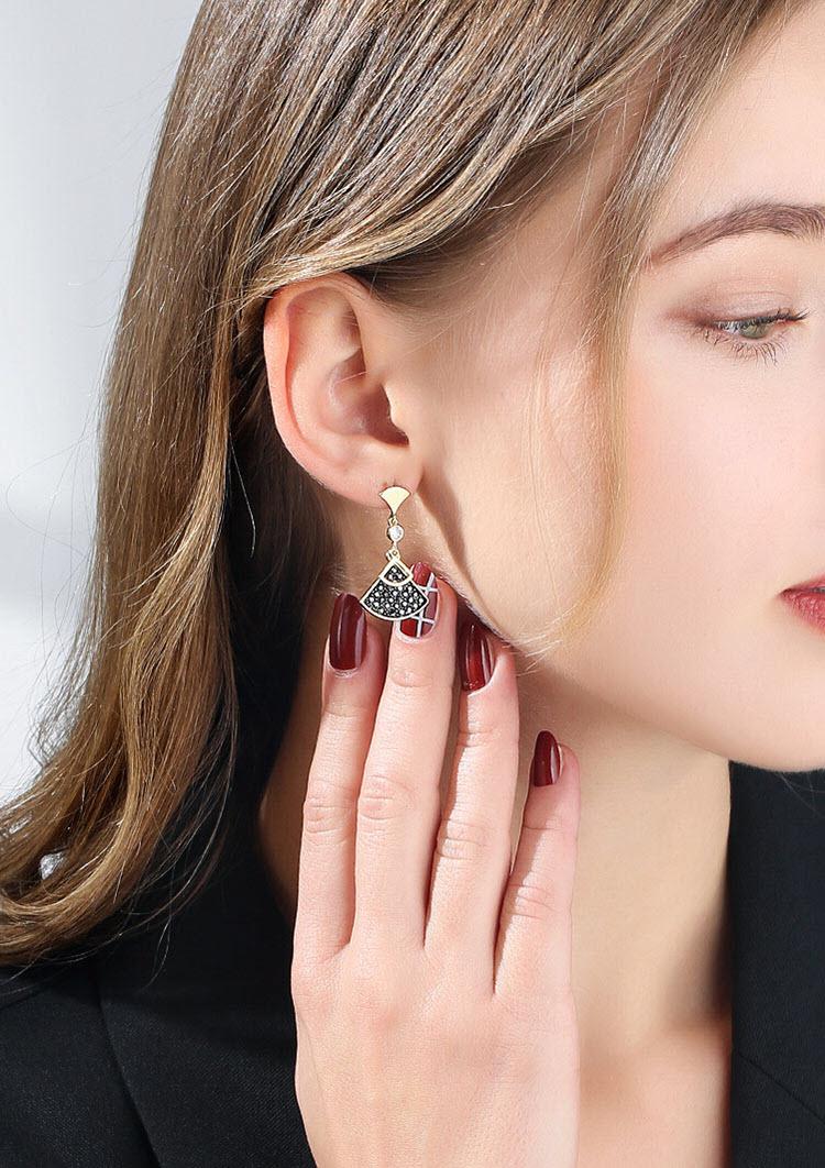 幾何風扇型水晶耳環