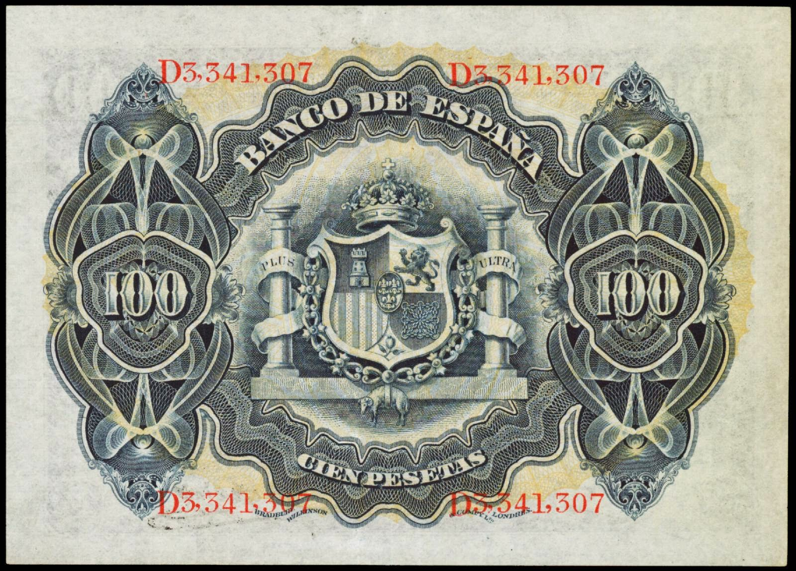 Spain paper money 100 Pesetas bill 1908