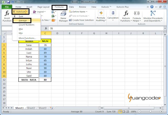 Rumus AUTOAVERAGE Microsoft Excel