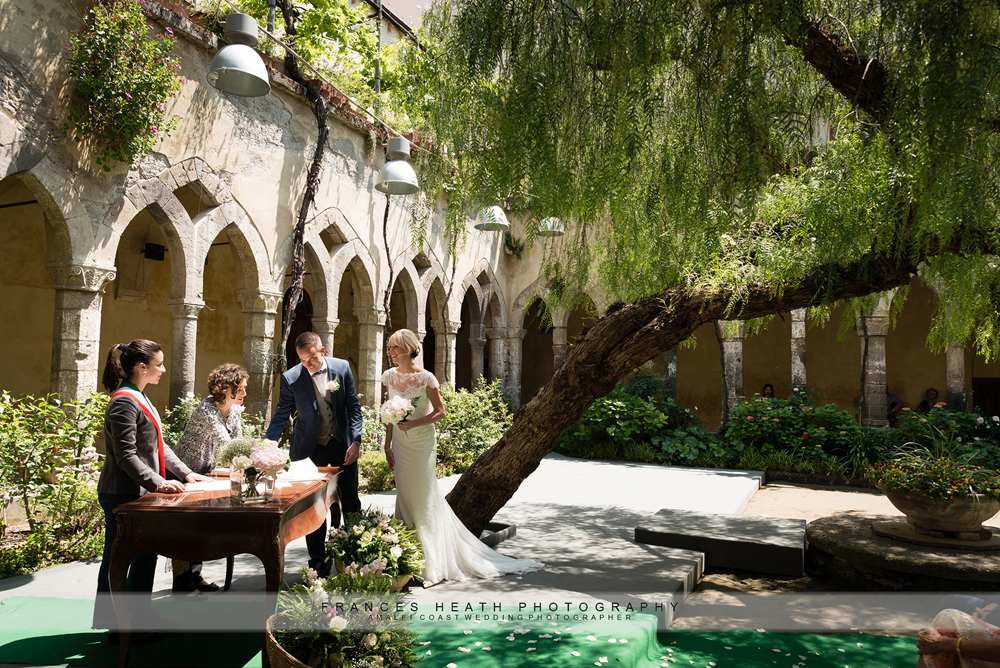 Wedding ceremony at cloisters in Sorrento