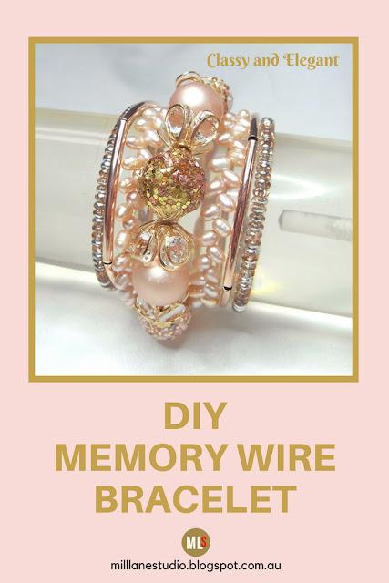 Blush memory wire bracelet