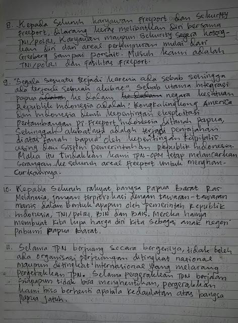 Statement oleh TPN-OPM MAKODAM III Timika, West Papua