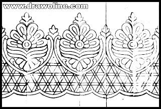 Cutwork border embroidery design | free cutwork embroidery designs | cutwork saree design drawing.
