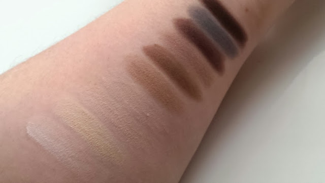 Swatches of the MUA ever after matte palette
