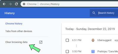 Cara Menghapus history google chrome laptop dan komputer