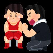 ボクサーとセコンドのイラスト(女性)