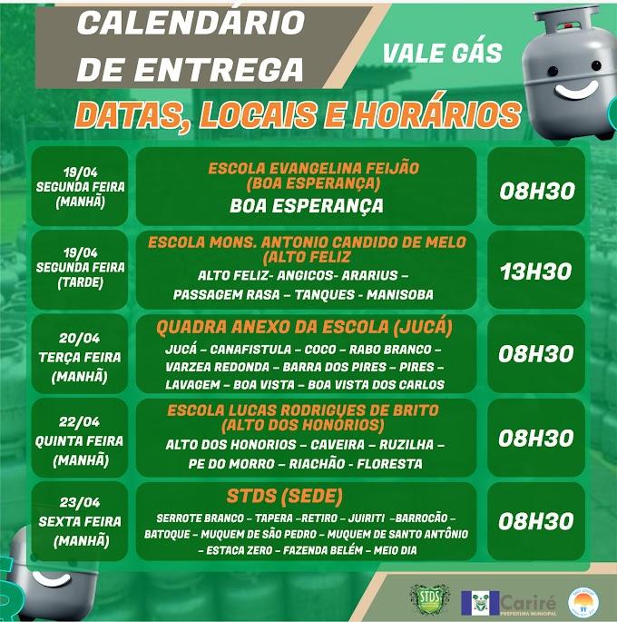 Confira calendários de entrega e a listagem dos beneficiários do Vale-Gás (1º Lote) em Cariré