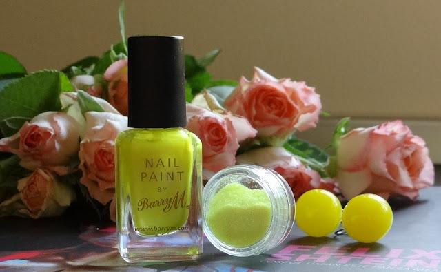 oja galben neon BarryM, pigment glitter galben neon, cercei biluța galbeni