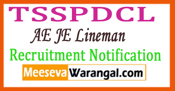 TSSPDCL AE JE Lineman Recruitment Notification 2017