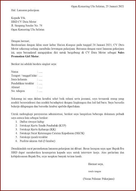 Contoh Application Letter Untuk Sales Promotion Girl Motor (Fresh Graduate) Berdasarkan Informasi Dari Media Cetak