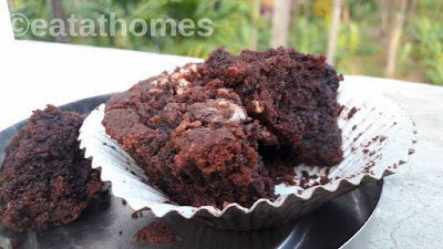 Moist eggless Chocolate Muffins Recipe