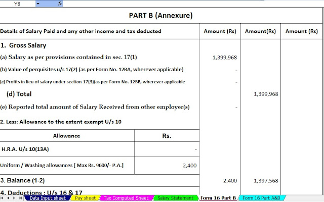 Income Tax Calculator All in One for the West Bengal Govt employees for the F.Y.2020-21