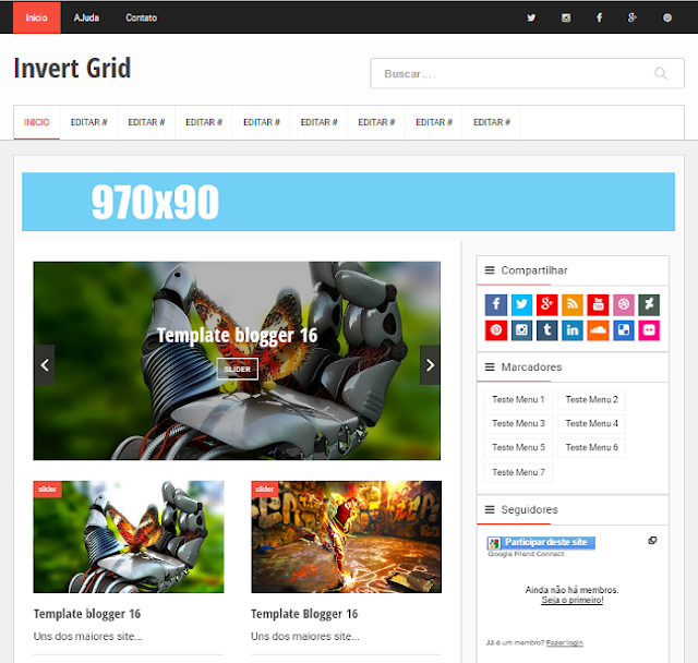 Invert Grid Magazine Blogger Template