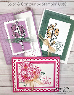 These three cards use Stampin' Up!'s Color & Contour Bundle (Color & Contour stamp set and Scalloped Contours Dies).  They also use the new in colors (2021-2023), 2021-2023 In Color Shimmer Vellum, In-Color 6x6 Designer Series Paper Assortment, Wink of Stella, and Open Weave Ribbon.  #StampinUp #InColor #StampTherapist #ColorandContour