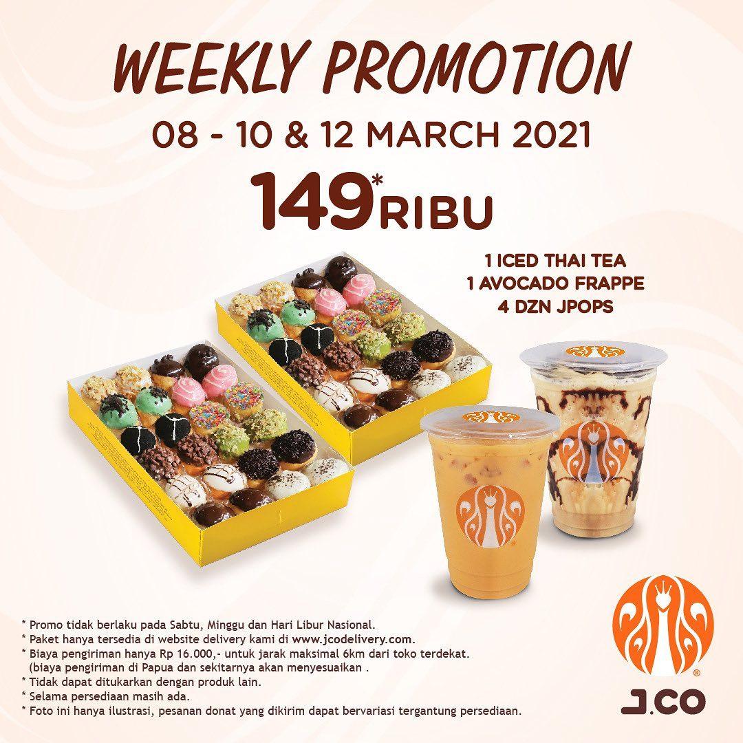 Promo JCO WEEKLY PROMOTION! 4 lusin JPOPS + 2 Minuman hanya 149Ribu!
