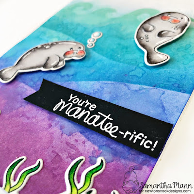 You're Manatee-rific Card by Samantha Mann for Newton's Nook Deisgns, Stencil, Distress Inks, Ink Blending, Watercolor, Cards, Card Making, Handmade Cards, #newtonsnook #newtonsnookdesigns #manatee #cards #cardmaking #distressinks #inkblending