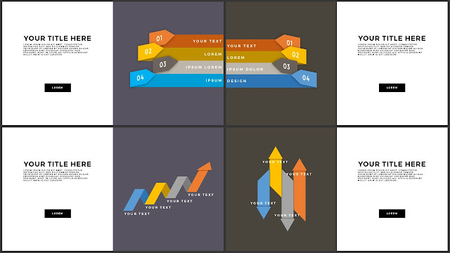 Free Various Infographic Arrow Elements PowerPoint Template Slide 1-4