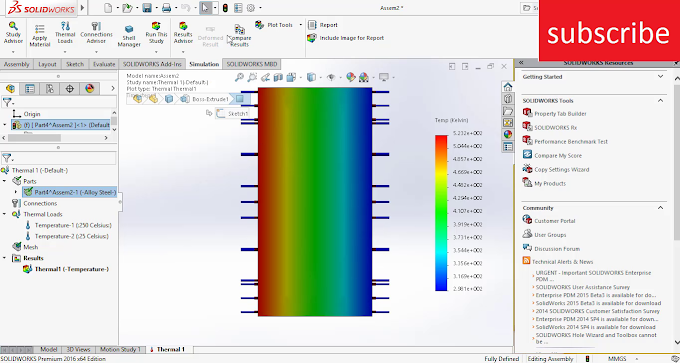 1 D  conduction Simulation in Solidworks
