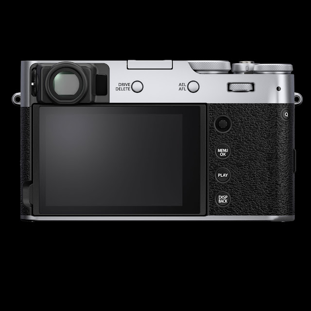 Fuji Silver X100V showing rear LCD panel