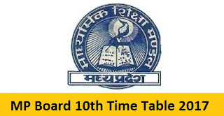 MP Board 10th Time Table
