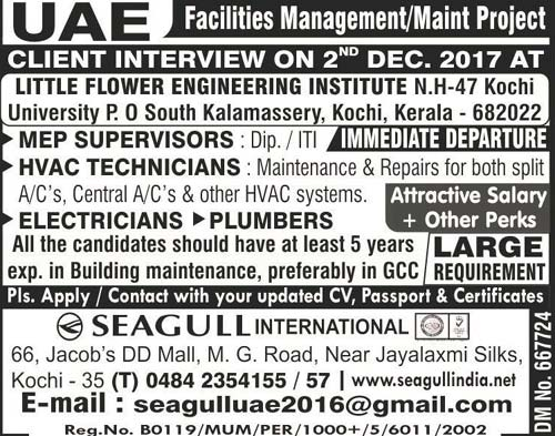 MEP Supervisor Jobs Interviews, HVAC Jobs in Dubai Gulf Facilities Management
