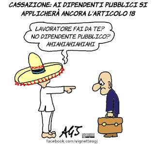 cassazione, articolo 18, art.18, dipendenti pubblici, PA, fornero, licenziamenti, vignetta, satira