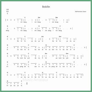 not angka lagu bebilin lagu daerah kalimantan utara