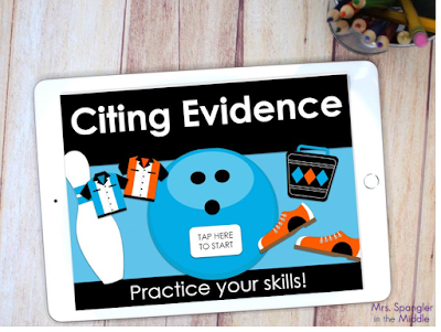 Give your middle school students an opportunity to practice / process the concept of citing evidence from a text with this NO-PREP digital game!