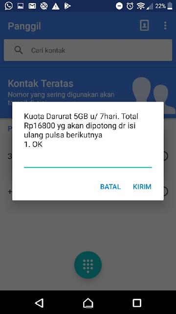 cara aktifkan kouta SOS Indosat