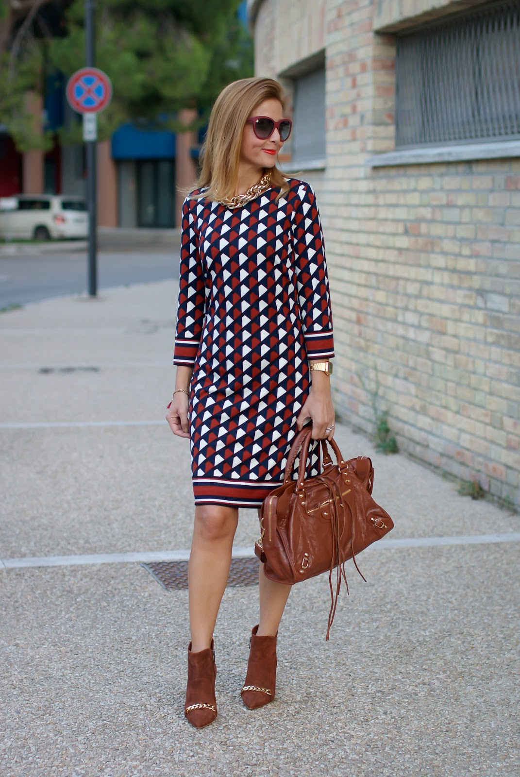 1.2.3 Paris Fall/Winter geometric print dress on Fashion and Cookies fashion blog, fashion blogger style